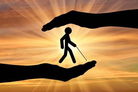 Icon blind with cane in hands on sunset. Concept protection of people with disabilities Stock Photo