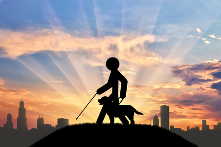unprotected: Icon blind with cane and guide-dog on background of city and sunset. Concept disabled Stock Photo