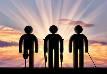 unprotected: Icon is disabled with prosthesis and on crutches and cane on sunset. Concept disabled