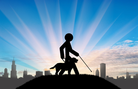 Icon blind with cane and guide-dog on background of city and day. Concept disabled