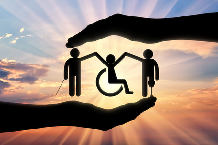 hold hands: Disabled society to hold hands in handbreadth against backdrop sunset. Concept help disabled persons