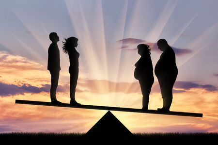 Fat man with fat woman and thin pair stand on scales on background sunset. Concept obesity Stock Photo