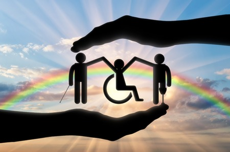 handbreadth: Disabled Society to hold hands in handbreadth against backdrop of rainbow. Concept help disabled persons