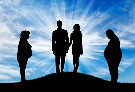 man: Thick man with woman and slender pair on hill on background sky. Concept obesity Stock Photo