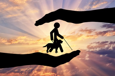 Icon disabled blind with cane and guide-dog in hand. Concept protection of people with disabilities Stock Photo