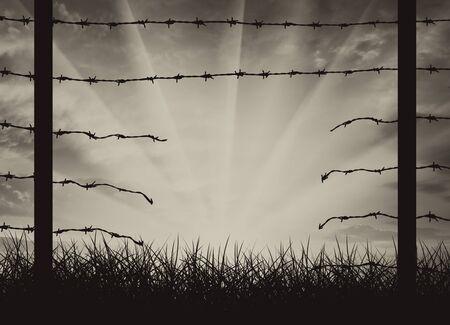 Hole in recinto sulle nazioni di confine. Concetto frontiere in modo clandestino Archivio Fotografico - 69151810