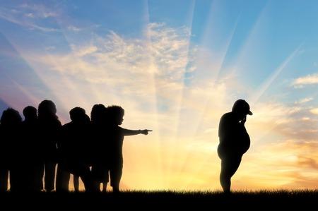 obesidad infantil: expulsan a los niños malos niño de la puesta del sol de grasa. Concepto de la obesidad infantil