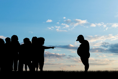 condemnation: Children expel fat boy on background of sky. Concept of childhood obesity Stock Photo