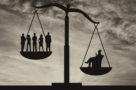 Poor people and wealthy businessman on scales on background of sky. Concept of social inequality Stock Photo