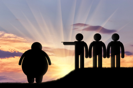 condemnation: People stand on hill banish fat man sunset. Concept obesity