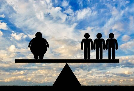 condemnation: Fat man and normal people on scales clouds on sky. Concept obesity