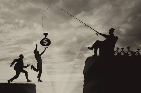 People jump into abyss trying to catch bag of money and manipulates businessman. Concept poor and rich Stock Photo