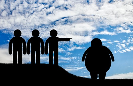 condemnation: People stand and banish fat man on sky background. Concept obesity