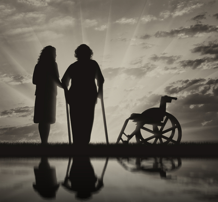 helps: Disabled persons woman on crutches in reflection and nurse helps her. Concept of disability