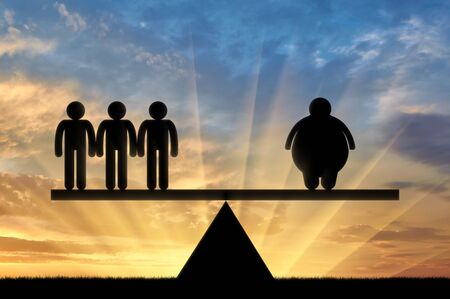 condemnation: Icon thick man and the normal on the scales on a sunset background. Concept obesity Stock Photo