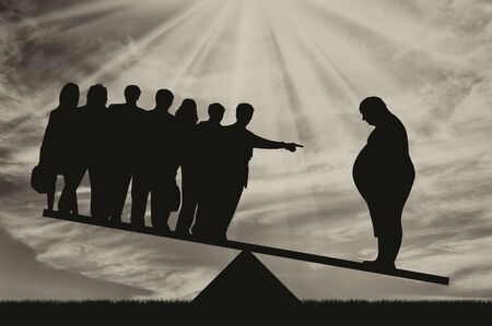 condemnation: Fat man and people on scales on background of sky. Concept obesity