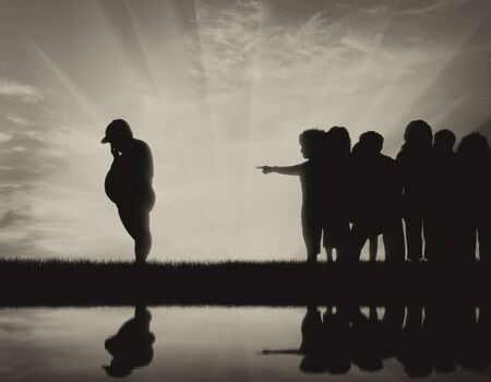 condemnation: Children expel thick child and silhouette in water. Concept of childhood obesity Stock Photo