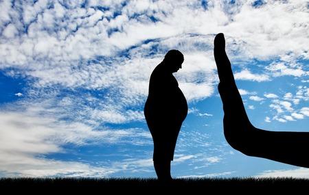 デブ男の悲しいとジェスチャーの手を停止します。太っている人は社会的な問題