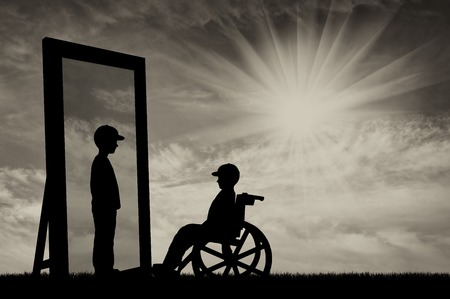 niños discapacitados: disabled child in a wheelchair and his reflection in mirror of a healthy baby boy on a background of sky. Concept of rehabilitation of disabled children