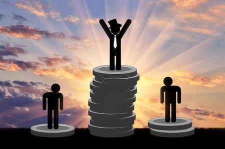 Concepto de desigualdad social. Hombres ricos y pobres se mantienen en el dinero Foto de archivo - 70643259