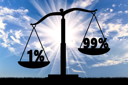 inequality: Inequality and injustice concept. One percent of the rich, outweighs 99 percent of poor