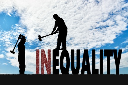 inequality: Silhouette of two men with sledgehammers smash word inequality. Social inequality and notion equality of rights Stock Photo