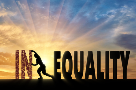 inequality: Silhouette of a man pushing a word inequality, achieving equality. Social inequality concept