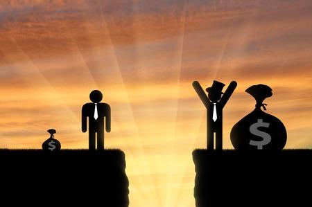 Conceito de desigualdade. Gap entre homem rico e pobre