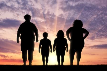 脂肪家族肥満からに苦しんで。肥満の概念 写真素材