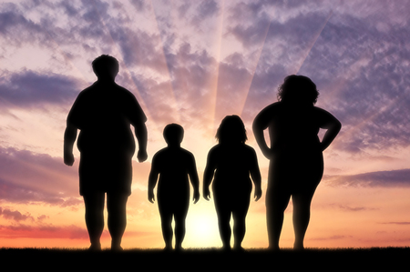 Fat family suffering from obesity. Concept of obesity