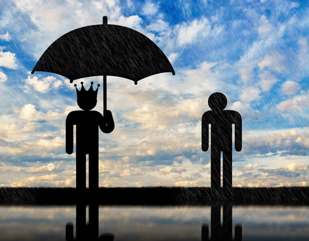 Concept of selfishness and greed. Man with a crown under an umbrella and a man in rain