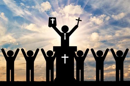기독교 종교 개념입니다. 기독교를 설교하는 사람들의 아이콘. 스톡 콘텐츠 - 77876724