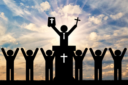 Christianity religion concept. Icons of people preaching Christianity.