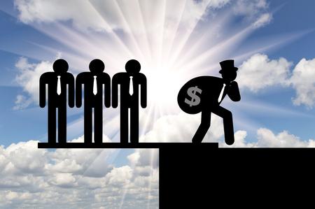 Desigualdad y capitalismo. Iconos planos de personas ricas y pobres Foto de archivo - 79089420