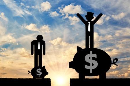 사회 불평등과 자본주의. 돼지 저금통에 서있는 사람들의 가난하고 부유 한 평면 아이콘과 그들 사이의 틈새 스톡 콘텐츠 - 79089422