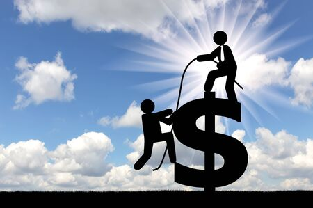 Concept of teamwork. Man standing on a dollar sign, gives rope another person, to achieve success together