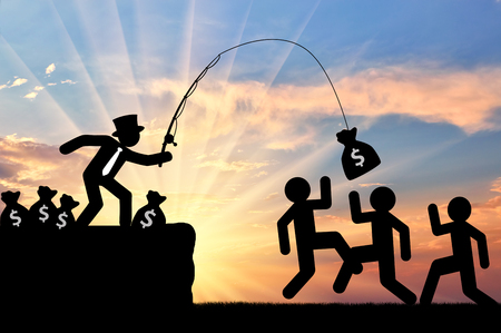 Concept of economic inequality. Rich people having fun, catching people for money Stock Photo