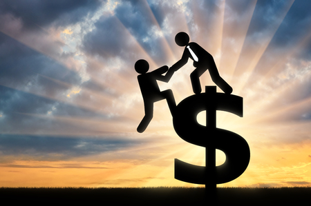 Concept of business team. Man standing on sign of dollar helps other person to get to it