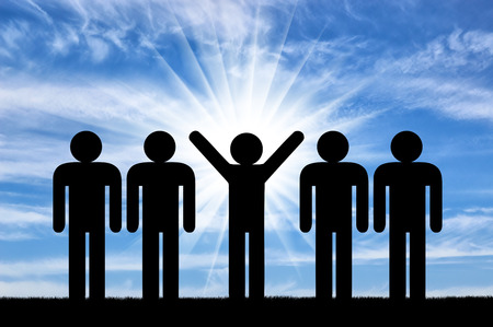 call out: Stand out from the crowd concept. Man with raised arms among ordinary people Stock Photo