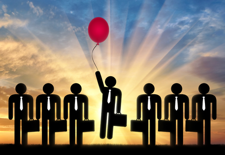 Stand out from the crowd concept. Man with balloon in hand to fly up among ordinary people