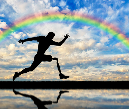 Running a disabled person with a prosthetic leg, confidently running on the ground and rainbow on a background of clouds and rainbows