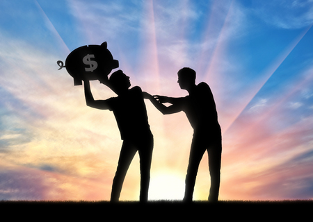 The concept of greed and selfishness. Silhouette of a man trying to take from another man a piggy bank with money