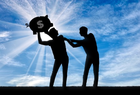 Concept of greed and selfishness. Silhouette of a man trying to take from another man a piggy bank with money