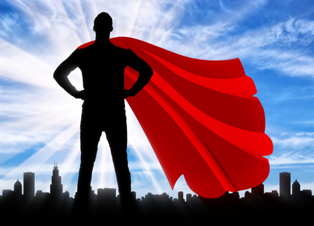 Superman businessman superhero. Silhouette of a confident and strong superman businessman against the backdrop of the metropolis city