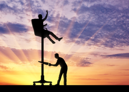 Rival sawing a chair on which a person sits high. The concept of rival and competition