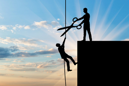 A businessman with big scissors in his hands intends to cut the rope along which the competitor creeps up. The concept of business rivalry and risk