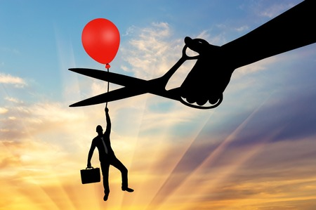 A man climbs up holding onto a balloon, and a hand with scissors intends to cut it off. The concept of a rival
