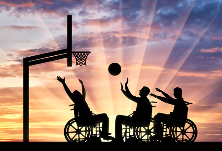 stress ball: Three disabled to play wheelchair basketball. The concept of sports lifestyle people with disabilities