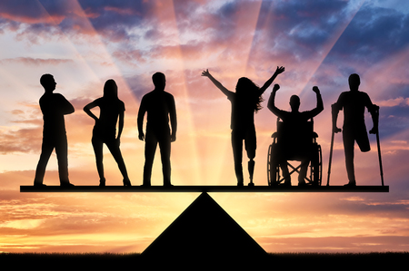 Ongeldige rechten staan gelijk aan gezonde mensen. Concept van sociale gelijkheid van gehandicapten in de samenleving Stockfoto - 90238126