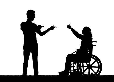 幸せのベクトル シルエットには、それをサポートする人と車椅子の女性が無効になります。概念的なシーン、デザインの要素